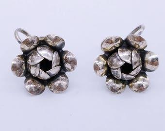 Vintage Sterling Silver Flower Screw Back Earrings