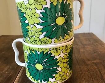 1970's Vintage Green Flower Power Mugs