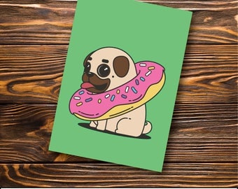 Pug Greeting Card -  Pug - Donut Pug | Green