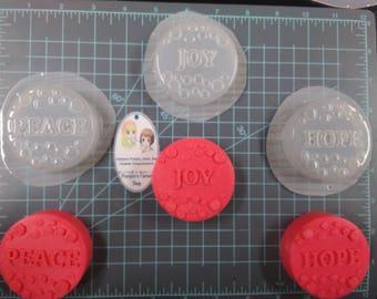Joy, Peace & Hope Plastic Mold or Silicone Mold, joy mold, bath bomb mold, soap mold, peace mold, resin mold, kawaii mold, hope mold,holiday