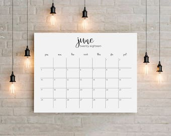 2018 Printable Big Wall Calendar Planner 12 Months instant gift Modern Calligraphic Horizontal Desk Letter Size 8,5 x 11 in Monday Sunday