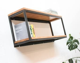 Orla Welded Dark Steel Box Section and Premium Oak Shelves - Bespoke Industrial Furniture by www.urbangrain.co.uk