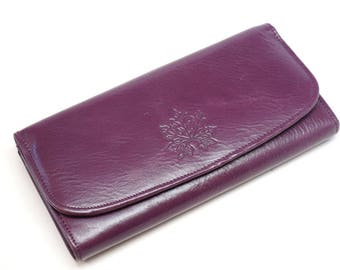 women leather wallet, leather wallet clutch, Purple long women wallet, leather women purse slim design wallet, billfold wallet
