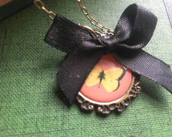 Cute Vintage Pink Yellow and Black Bow Cameo Small Pendant Alice in Wonderland Juicy Couture Inspired Necklace