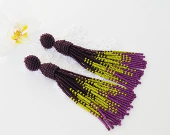 Beaded Tassel earrings Purple Tassel earrings Oscar de la renta Green earrings Long earrings Statement earrings birthday gift gift wife
