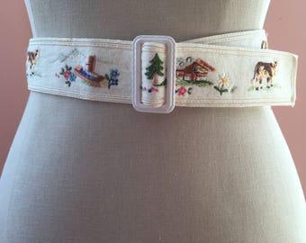 Vintage Small Cream Alpine Belt Made in Switzerland