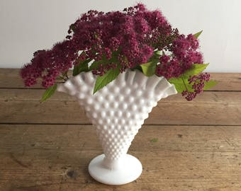 Fenton Milk Glass Fan Vase