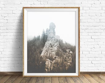 "landscape photography, digital photography, instant download printable art, black and white, large wall art, art prints - ""Monolith No. 1"""