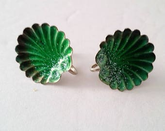 Mid Century 925 Silver Green Enamel Shell Screw Earrings