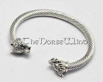 Viking Bracelet, Fenrir Wolf Bracelet, Wolf Head Bracelet, Viking Torque, Norse Ragnar Bracelet, Norse Mythology, Viking Jewelry