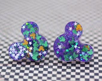 This is Halloween Mickey Mouse Disney Earrings - Purple Green and Orange Hidden Mickey Mouse Earrings