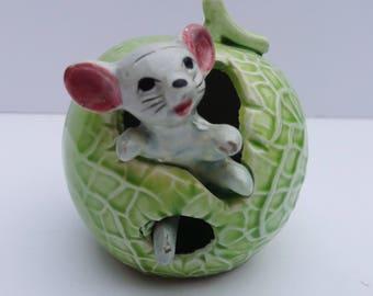 Vintage Mouse Ornament, Kitsch Ornament, Mouse Figurine, Collectible Mouse Ornament