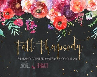 Watercolor clipart. Fall clipart. Wedding clipart. Fall wedding. Flower clipart. Watercolor flowers. Watercolor floral. Floral