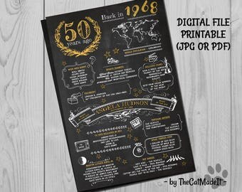 50th Birthday Gift, Birthday Chalkboard, Poster Sign Party Decoration , Poster Ideas, What happened in 1968, born made in 60s, Digital File