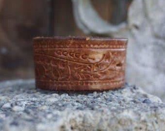 Aztec Embossed Leather Bracelet Cuff
