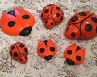 Six Vintage Chalk Ware Lady Bugs