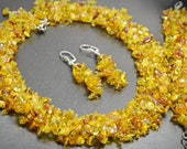 Yellow Natural Amber Jewelry Handwoven Statement Collar Necklace Bracelet Set Amber Chips Crystal Funky Beaded Handmade Set Valentines Gift