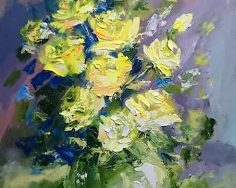 YELLOW ROSES; Original palette knife oil painting; framed
