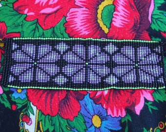 Tribal purple beaded bracelet from Mexico