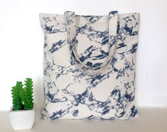 Blue Marble Canvas Tote Bag, Marble Canvas Tote Bag, Minimal Canvas Tote Bag, Canvas bag, School Tote Bag, Marble tote bag, Minimalist bags