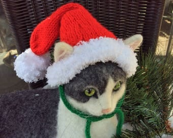 Christmas cat hat, Santa hat, Santa cat hat, hats for cats, cat hat, cat hats, cat costumes, cat photo prop, cat accessories, Cats, pets