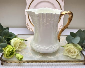 Exquisite Embossed Crisp White Antique Pitcher, Large Jug