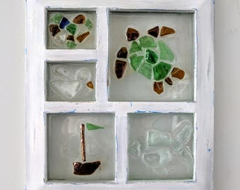 Multi-pane sea glass window art