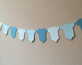 Blue Ombre Baby Onesie Banner for Baby Shower, Baby Sprinkle, First Birthday, Baby Boy Shower