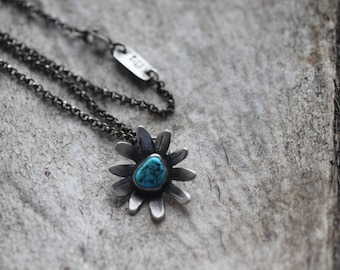 Turquoise Nugget Wildflower Necklace No. 2 - Flower Necklace - Turquoise Necklace - Artisan Necklace - Sleeping Beauty Turquoise Necklace
