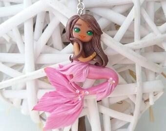 Lovely pink Mermaid : handmade cute polymer clay  necklace • sirena ooak