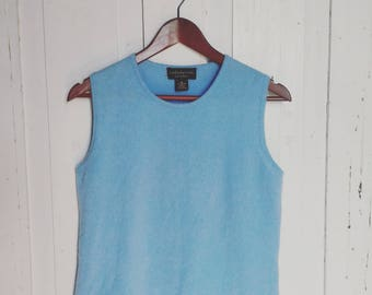 Light Blue Pure Cashmere Sweater Vest