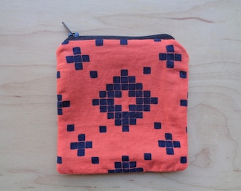 Orange and Blue Zipper Pouch// Cute Coin Purse