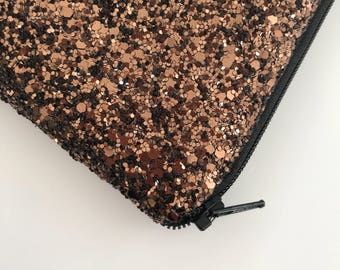 Chocolate brown glitter bag , evening clutch bag,  Glitter clutch bag, evening clutch bag, wedding clutch bag, prom clutch bag, gift for her