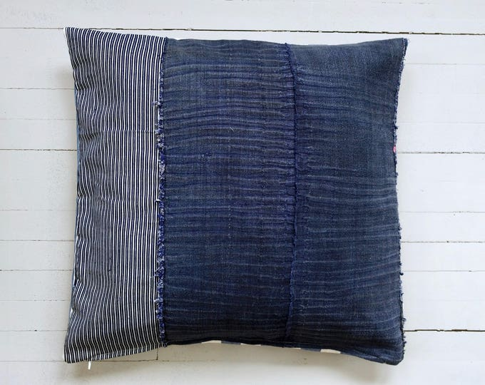 "Vintage Japanese indigo Stripes pillow 22"" x 22"""