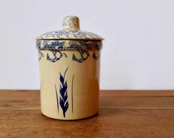 Robinson Ransbottom Pottery Blue Spongeware 1 Quart High Jar Crock with Lid - R.R.P. Co