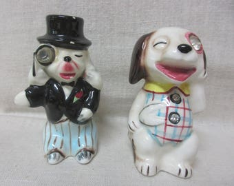 Pair of Vintage Anthropomorphic Dog salt and pepper shakers With Rhinestones