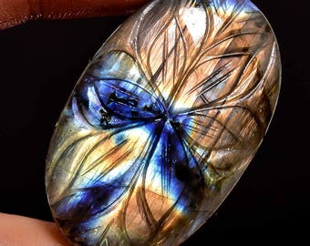 Natural Labradorite Carving Cabochon Oval Shape Full Flashy Fire Super Sparkle Size 39X25X7 MM Weight 57.40 Carat Approx Aaa Quality  3160