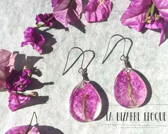 Dangle earrings with real pink bougainville flowers - natural jewelry - bucolic inspiration - resin jewelry