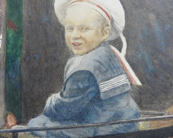 1900's hand painted watercolour portrait of boy in a sailors suit ,framed, glazed miniature