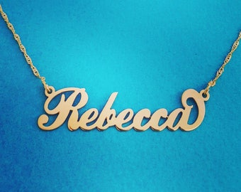 14k Gold Name Necklace  Order Any Name! Rebecca Name Pendant  Necklace With Signature Real Gold Name Pendant Christmas Sale! Summer Sale!