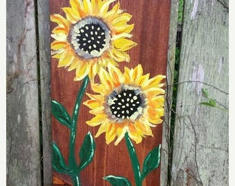 "SALE SUNFLOWER Large Pretty Flower Art Painted On Reclaimed Wood Plank Painting Scott D Van Osdol Garden Porch Home Wall Decor 9-1/4x19"" Uni"