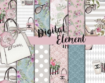 Digital Paper, Seamles Digital Scrapbook, Fashion Design Paper, Pink Chanel Design Paper. No. P200