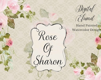 Watercolor Clip-art, Watercolor Rose Clipart, Pink Roses, Pink Peonies Clipart, Wedding Floral Paper. No. WC84