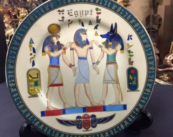 Vintage Egyptian Ceramic Plate- God's   Hand painted Designer Fathi Mahmud  Made In Egypt