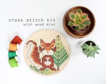 Chipmunk in the Woods - Modern DIY Cross Stitch Kit - Kids cross stitch kit - Wood Disk Cross stitch Kit -