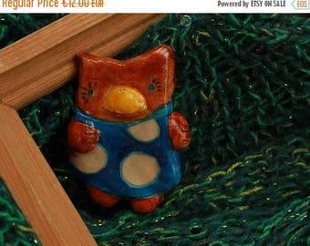 ON SALE owl brooch handmade clay bird brooch ceramic owl brooch cute owl pin clay unique clay brooch clay jewelry smiling owl brooch