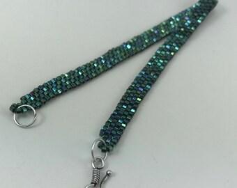 Brilliant Green Peyote Stitch Glass Beaded Thin Cuff Bracelet