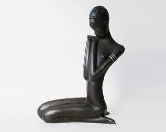 Cast metal Nubian African princess woman sculpture - Hagenauer