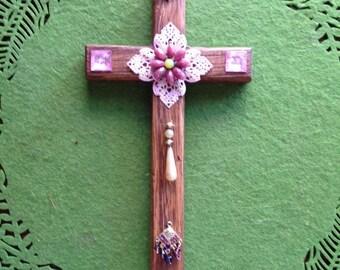Pink Flower Cross