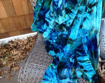 Handmade Organic Cotton and Bamboo Velour Throw Blanket in Blue Prism